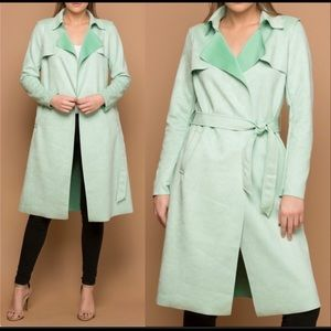 Mint green L.A Coalition Faux (VEGAN) Suede Trench